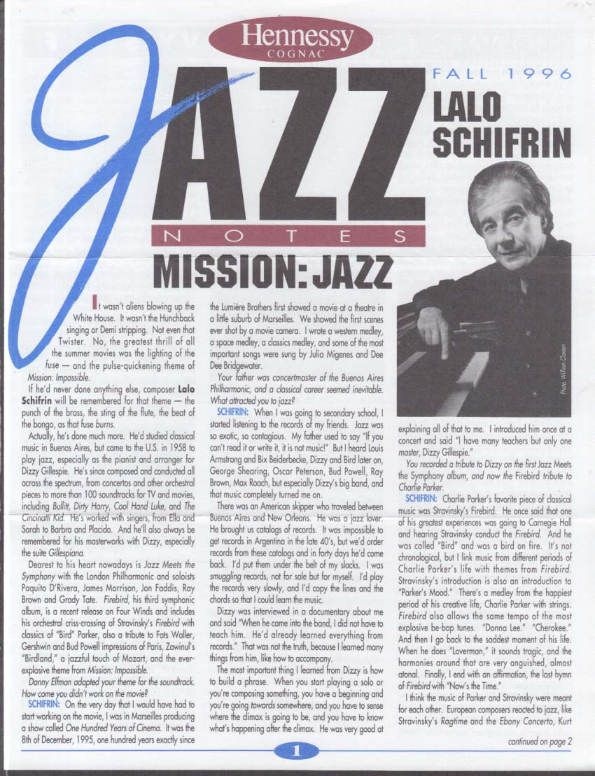 Hennessy Cognac JAZZ NOTES Fall 1996 Lalo Schifrin Howards Johnson Satchmo