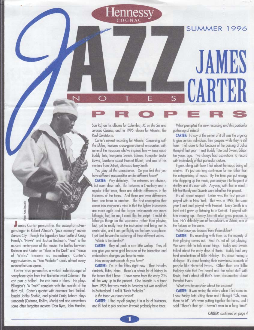 Hennessy Cognac JAZZ NOTES Summer 1996 James Carter Lionel Hampton Miles Davis