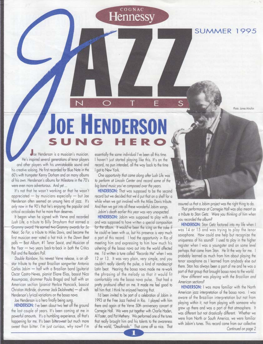 Hennessy Cognac JAZZ NOTES Summer 1995 Joe Henderson Lovano Joshua Redman