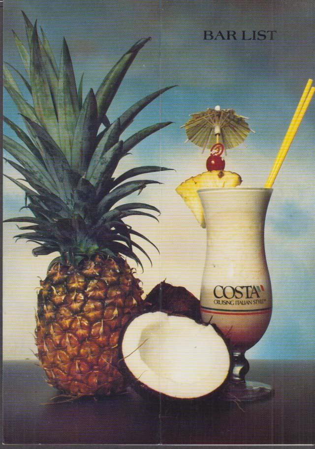 Costa Cruise Lines Bar List Menu 1980s