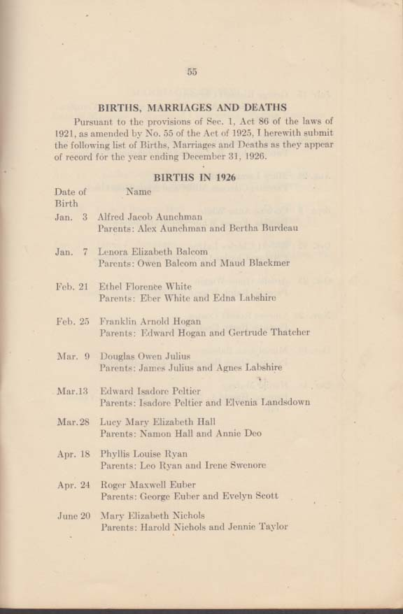 Town of Orwell Vermont Annual Report 1927 with necrology, births & weddings