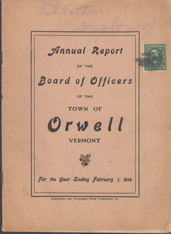 Town of Orwell Vermont Annual Report 1914