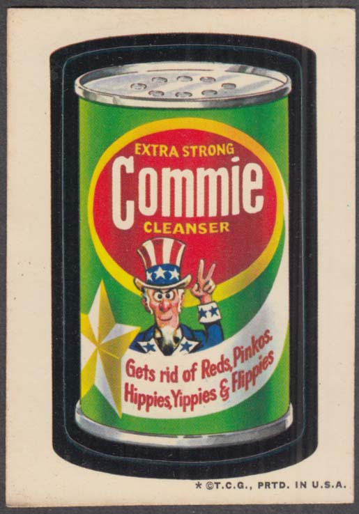 Topps Wacky Packages COMMIE Cleanser gets rid of Reds Pinkoes + 1973 white back