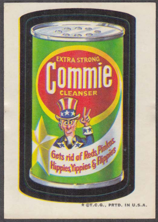 Topps Wacky Packages COMMIE Cleanser gets rid of Reds Pinkoes + 1973 tan back