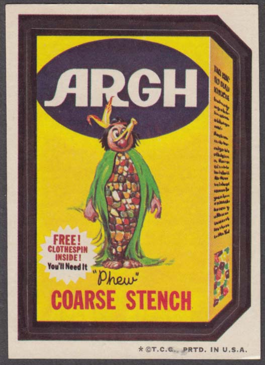 Topps Wacky Packages ARGH COARSE STENCH Phew 1973