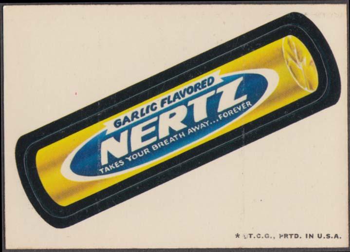 Topps Wacky Packages Garlic Flavored NERTZ 1973 white back