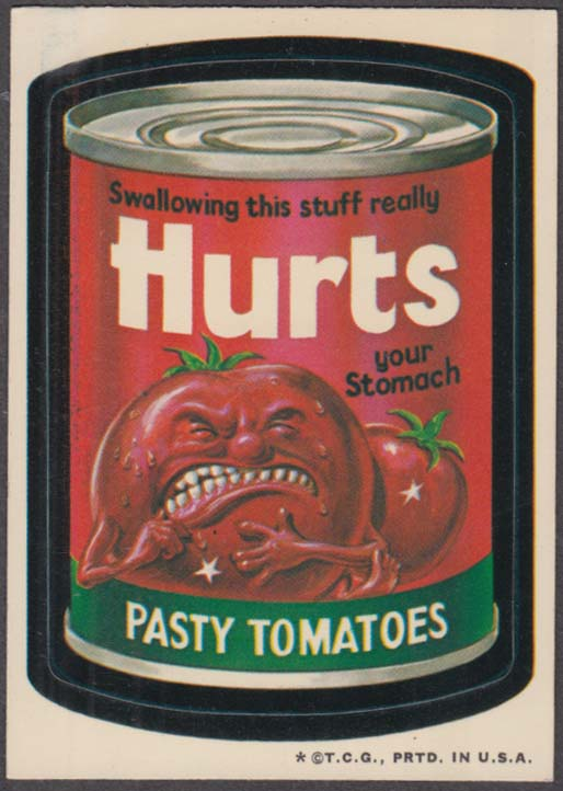 Topps Wacky Packages HURTS Pasty Tomatoes 1973 white back