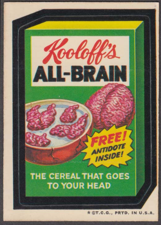 Topps Wacky Packages Kooloff's ALL-BRAIN Cereal 1973 - one *, white back
