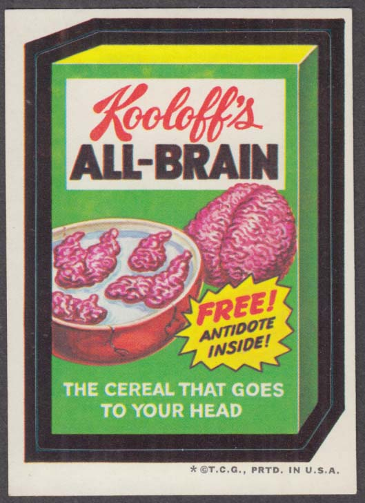 Topps Wacky Packages Kooloff's ALL-BRAIN Cereal 1973 - one *, tan back