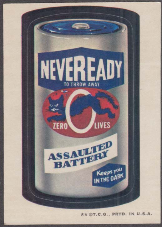 Topps Wacky Packages NEVEREADY Assaulted Battery 1973 two * version