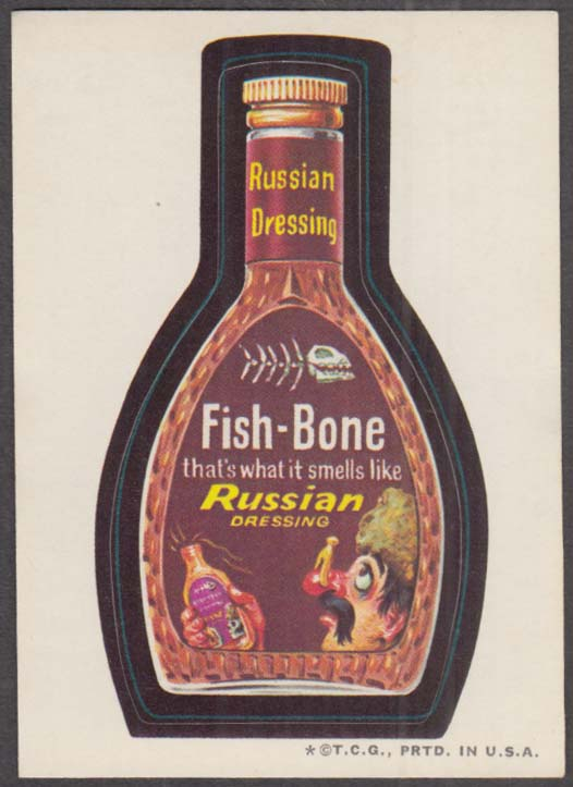 Topps Wacky Packages FISH-BONE Russian Dressing 1973 one * version, tan back
