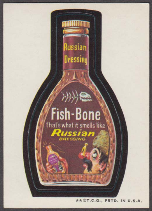 Topps Wacky Packages FISH-BONE Russian Dressing 1973 two * version, tan back