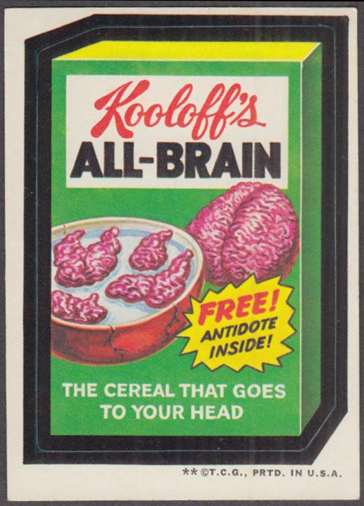 Topps Wacky Packages Kooloff's ALL-BRAIN Cereal 1973 - two *, tan back
