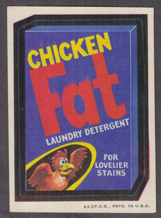 Topps Wacky Packages Chicken FAT Laundry Detergent 1973 two * version