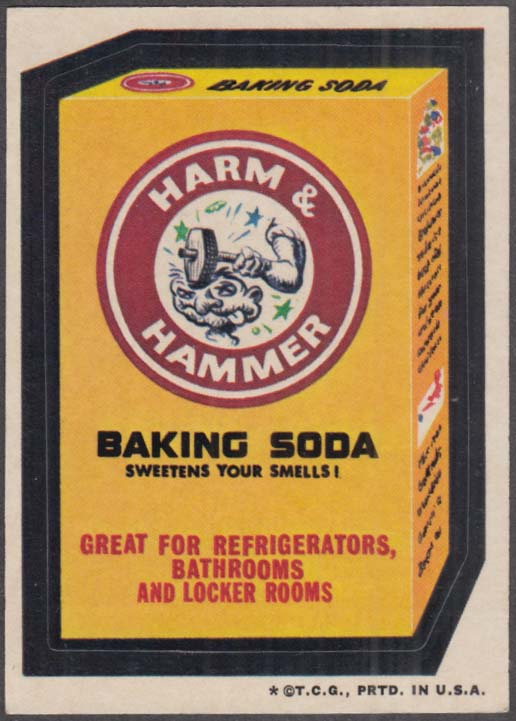 Topps Wacky Packages HARM & HAMMER Baking Soda 1973 one * version
