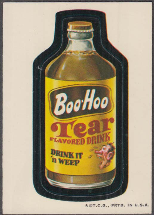 Topps Wacky Packages BOO-HOO Tear Flavored Drink 1973 white back