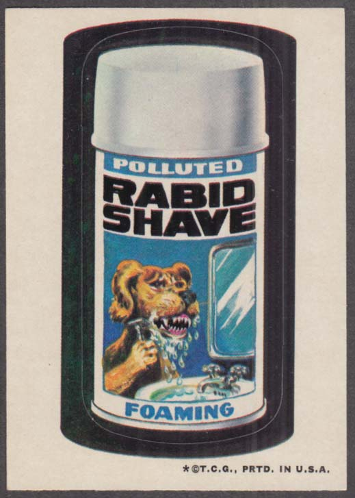 Topps Wacky Packages Polluted RABID SHAVE 1973