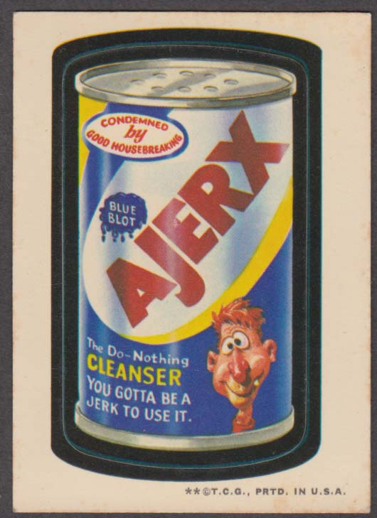 Topps Wacky Packages AJERX The Do-Nothing Cleanser 1973 two * version white back