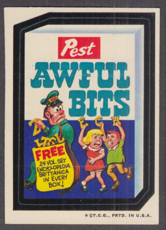 Topps Wacky Packages Pest AWFUL BITS 1973 one * version white back