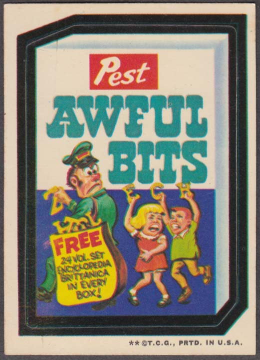 Topps Wacky Packages Pest AWFUL BITS 1973 two * version white back