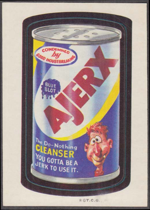 Topps Wacky Packages AJERX The Do-Nothing Cleanser 1973 * T.C.G only on face