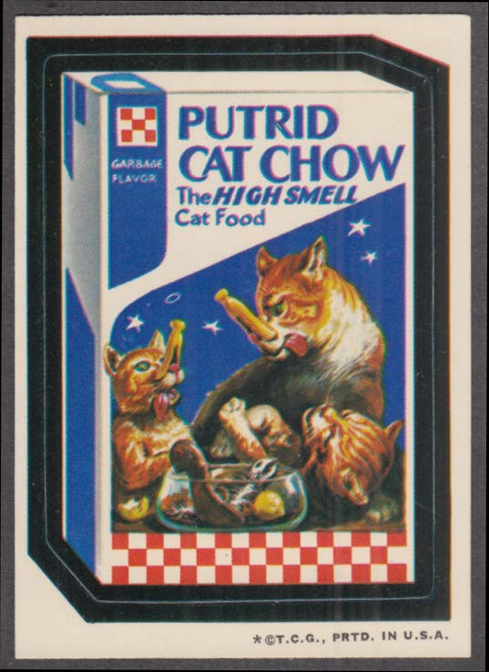 Topps Wacky Packages PUTRID CAT CHOW 1973 one * version, white back