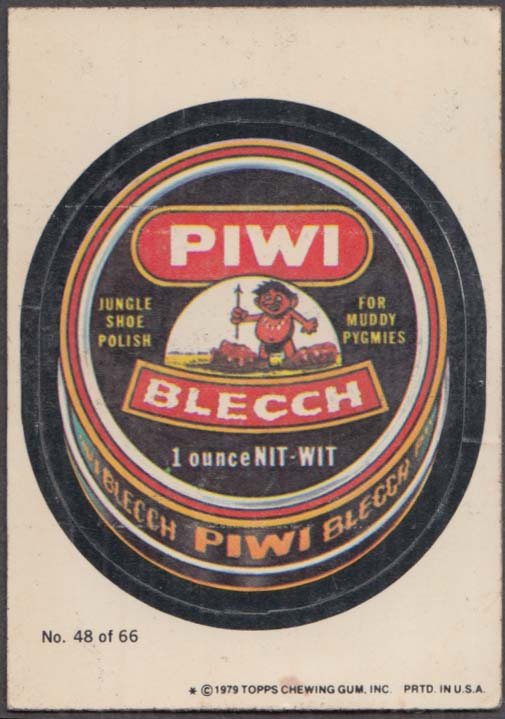 Topps Wacky Packages PIWI BLECCH Jungle Shoe Polish 1979 #48