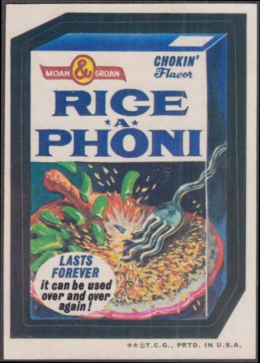 Topps Wacky Packages RICE-A-PHONI Chokin' Flavor 1973 two * version