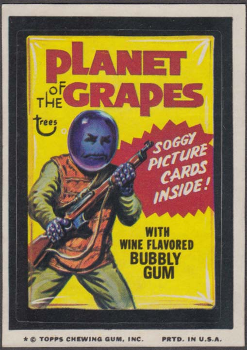 Topps Wacky Packages PLANET of the GRAPES Bubbly Gum 1974 one * version