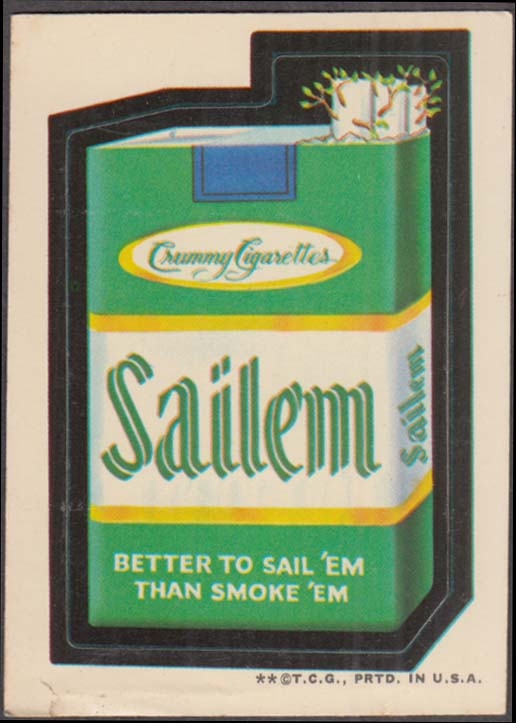Topps Wacky Packages SAILEM Crummy Cigarettes 1973 two * version white back
