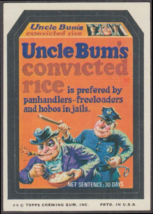 Topps Wacky Packages UNCLE BUM'S CONVICTED RICE 1974