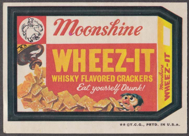 Topps Wacky Packages MOONSHINE WHEEZ-IT Whisky Flavored Crackers 1973