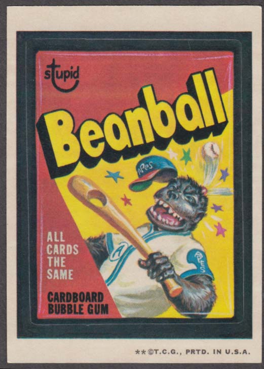 Topps Wacky Packages Stupid BEANBALL Bubble Gum 1973 two * version