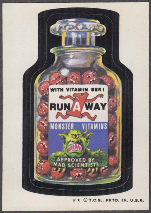 Topps Wacky Packages RUN-A-WAY Monster Vitamins 1974