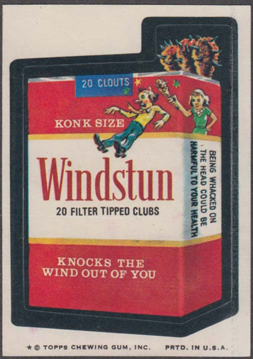 Topps Wacky Packages WINDSTUN Filter Tipped Clubs 1974