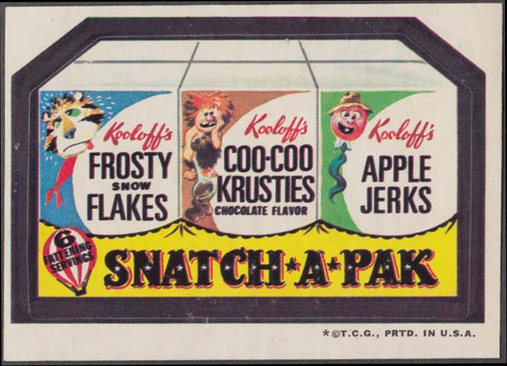 Topps Wacky Packages Kooloff's SNATCH-A-PAK Cereal 1973