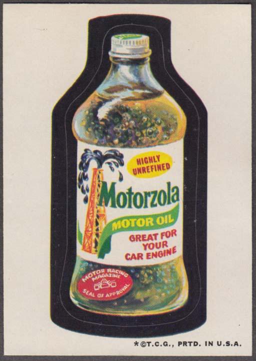 Topps Wacky Packages MOTORZOLA Motor Oil 1973