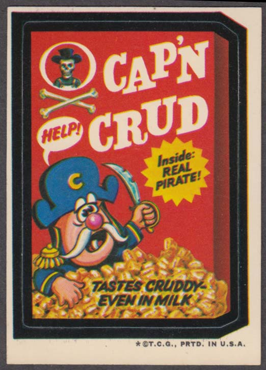 Topps Wacky Packages CAP'N CRUD Cereal 1973 white back