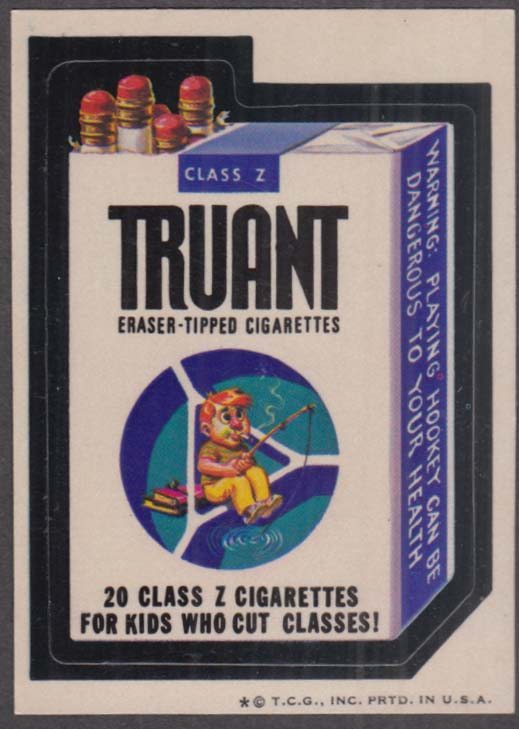 Topps Wacky Packages TRUANT Eraser-tipped Cigarettes 1974 one * version