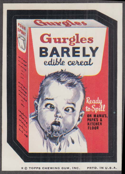 Topps Wacky Packages GURGLES BARELY Edible Cereal 1974 one * version