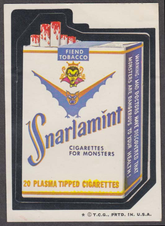 Topps Wacky Packages SNARLAMINT Cigarettes 1974 one * version.