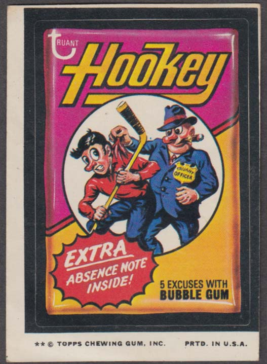 Topps Wacky Packages HOOKEY Bubble Gum 1974 two * version