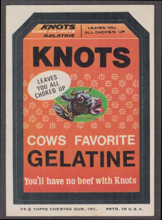 Topps Wacky Packages KNOTS Cows Favorite Gelatine 1974 two * version