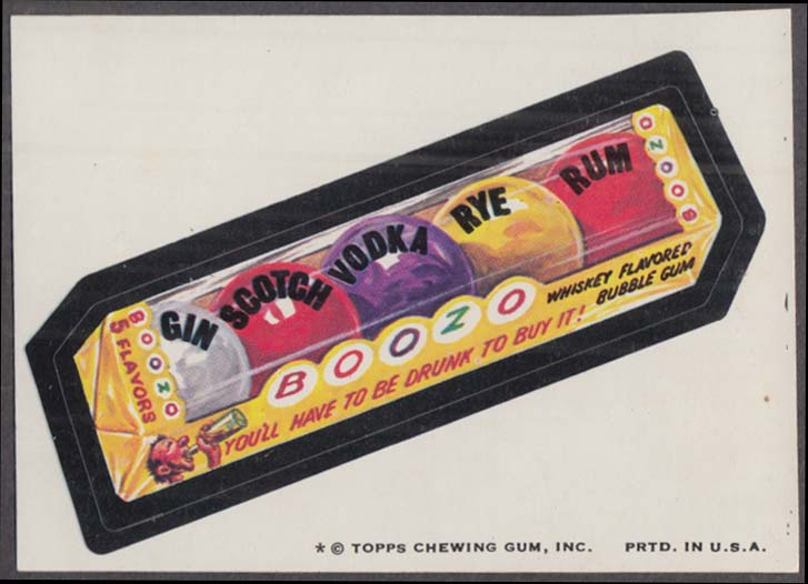 Topps Wacky Packages BOOZO Whiskey Flavored Gum 1974 one * version