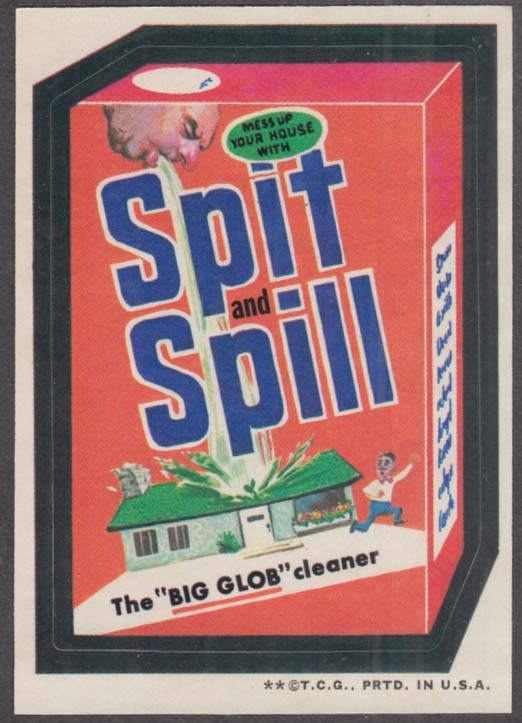 Topps Wacky Packages SPIT and SPILL Big Glob Cleaner corrected version 1973