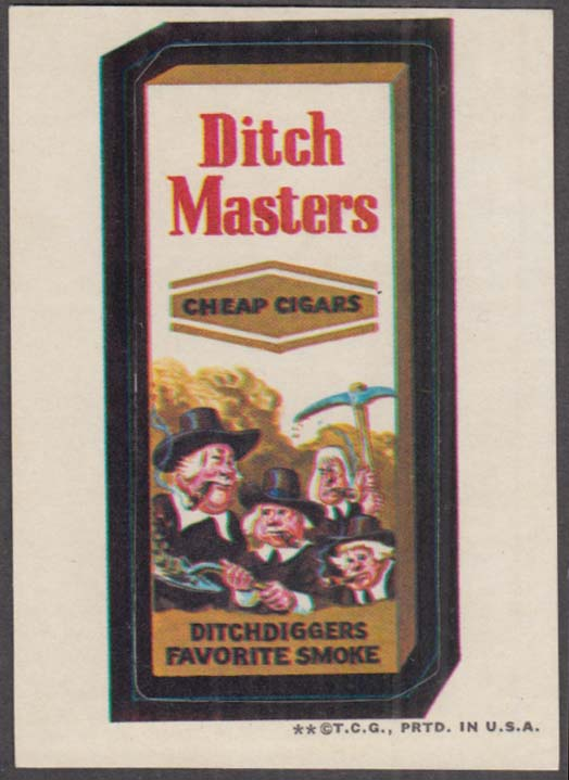 Topps Wacky Packages DITCH MASTERS Cheap Cigars 1973 tan back
