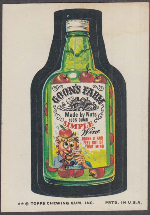 Topps Wacky Packages GOON'S FARM Simple Wine 1974