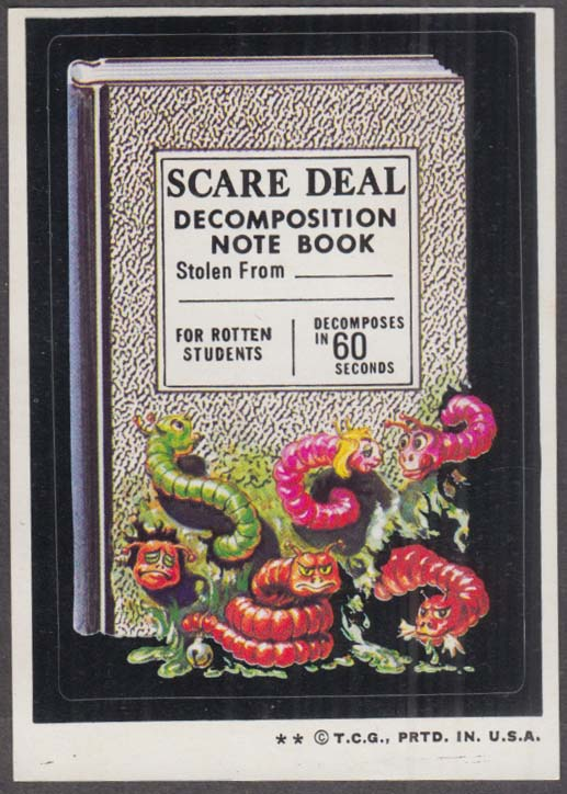 Topps Wacky Packages SCARE DEAL Decomposition Note Book 1974 two * version