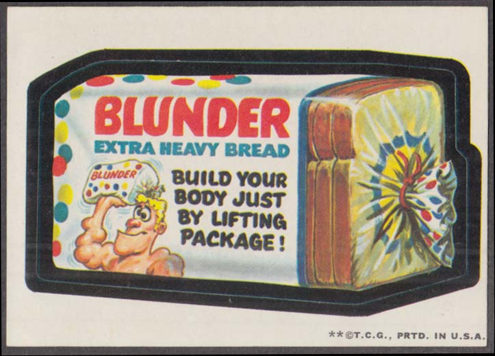 Topps Wacky Packages BLUNDER Extra Heavy Bread 1973 two * version