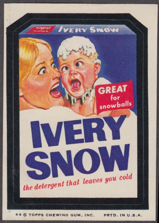 Topps Wacky Packages IVERY SNOW Detergent 1974 two * version
